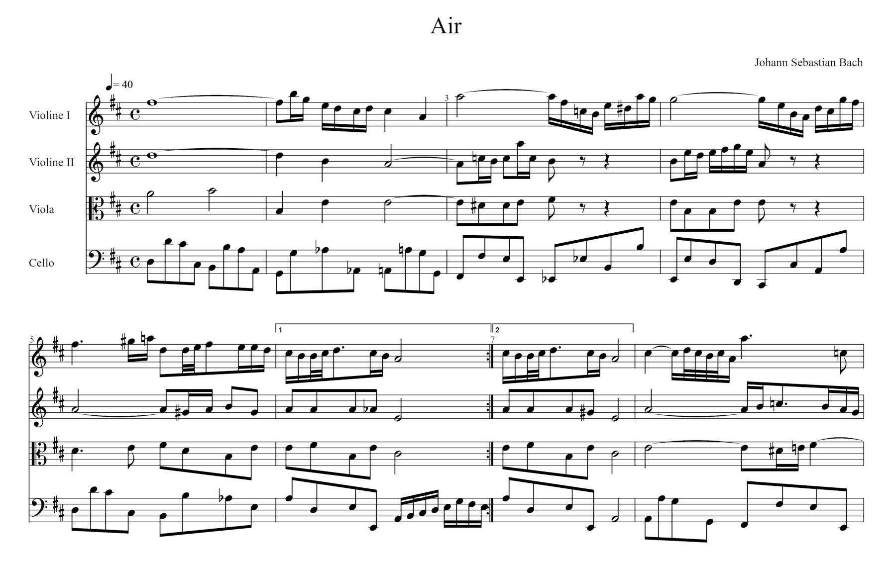 Musical notation of