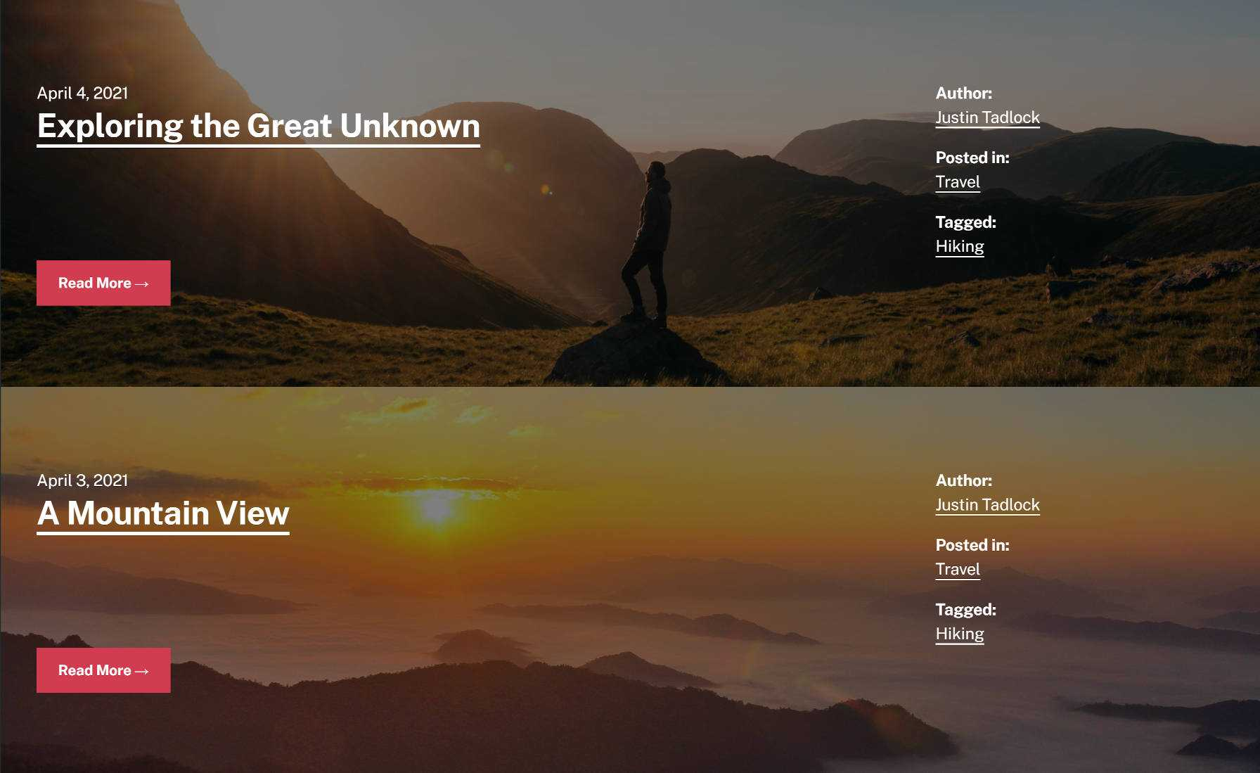 Two blog posts stacked on top of each other.  Each has a custom background image that spans the page.